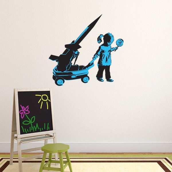 Girl and War Wagon Banksy Wall Decal Sticker-Wall Decal Stickers-Style and Apply
