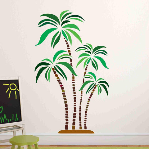Green and Brown Palm Trees Wall Stickers
