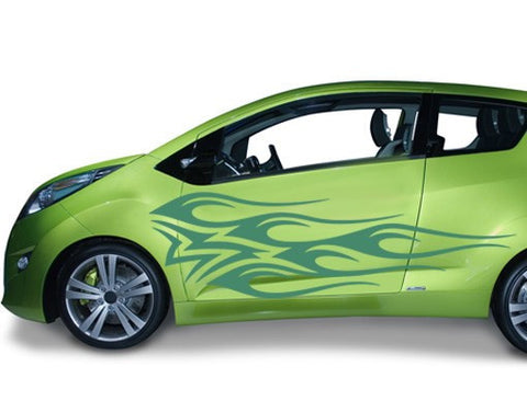 Green Flame-Car Decals-Style and Apply
