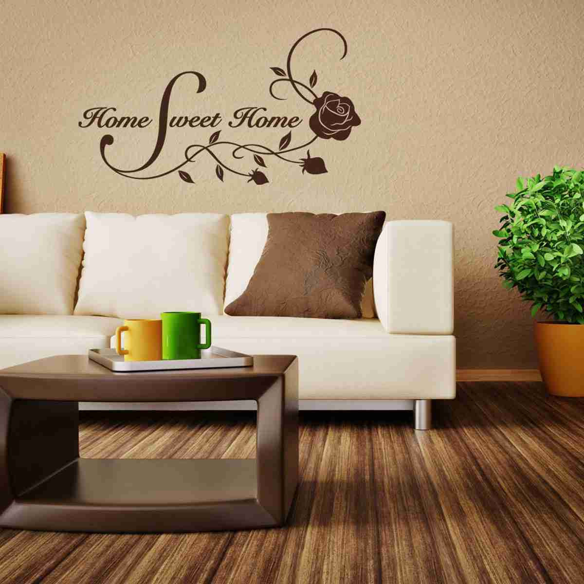 Home Sweet Home Floral Quote with Roses Wall Decal-Wall Decals-Style and Apply