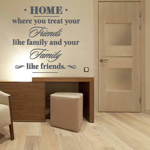 Home: Where You Treat Your Friends Like Family and Your Family Like Friends Wall Decal quote