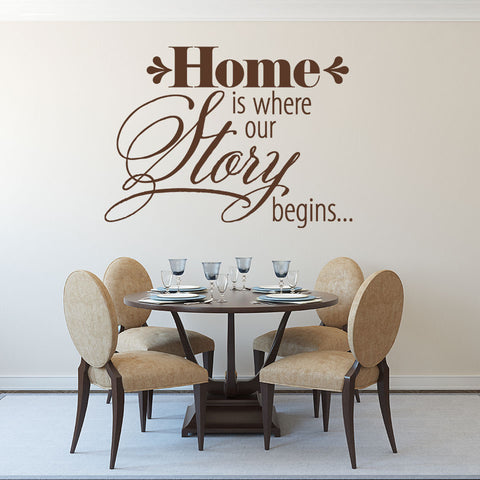 Home is Where our Story Begins Wall Decal quote