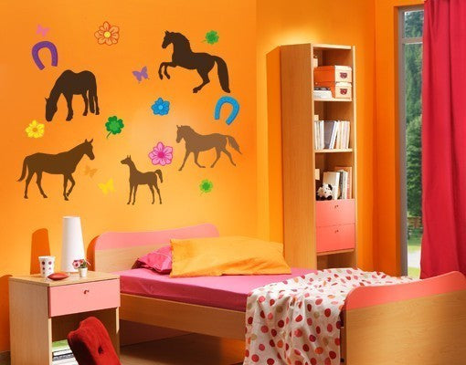 Horse Set Wall Stickers-Wall Decal Stickers-Style and Apply