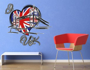 I Love UK Wall Decal-Wall Decal Stickers-Style and Apply