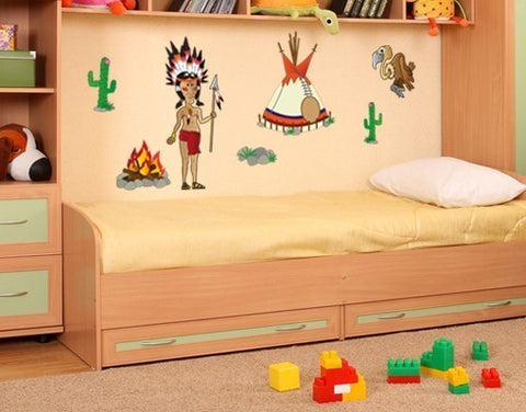 Indian Set Stickers-Wall Decal Stickers-Style and Apply