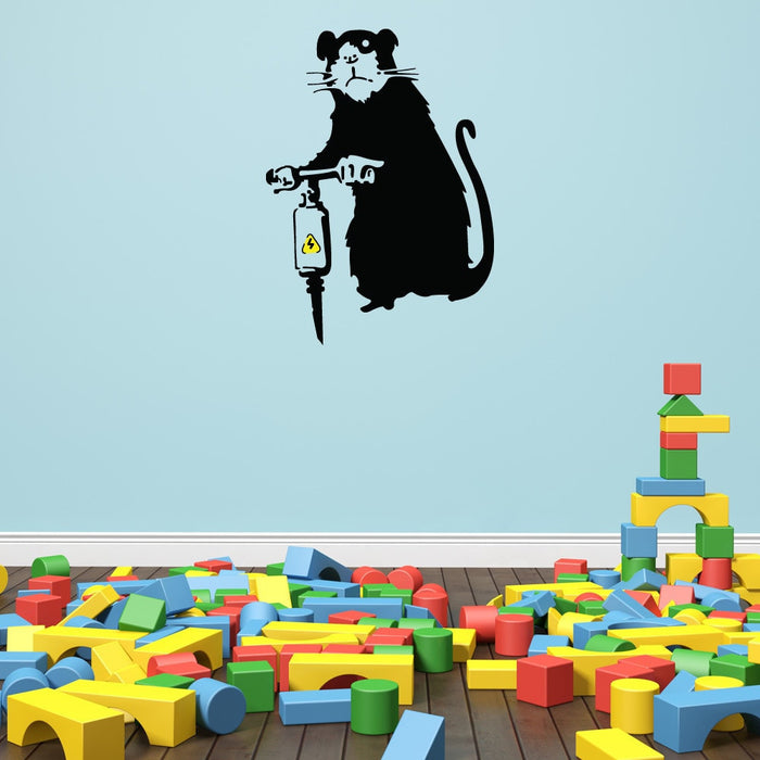 Jackhammer Rat Banksy Wall Decal Sticker