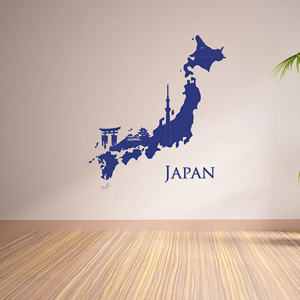 Japan map wall decal wall decals style and apply