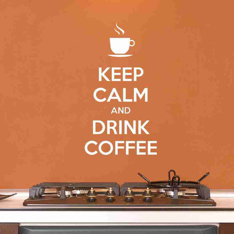Keep Calm And Drink Coffee Wall Decal Sticker, Vinyl Wall Art, Nursery Wall Decor-SA Wall Decals-Style and Apply