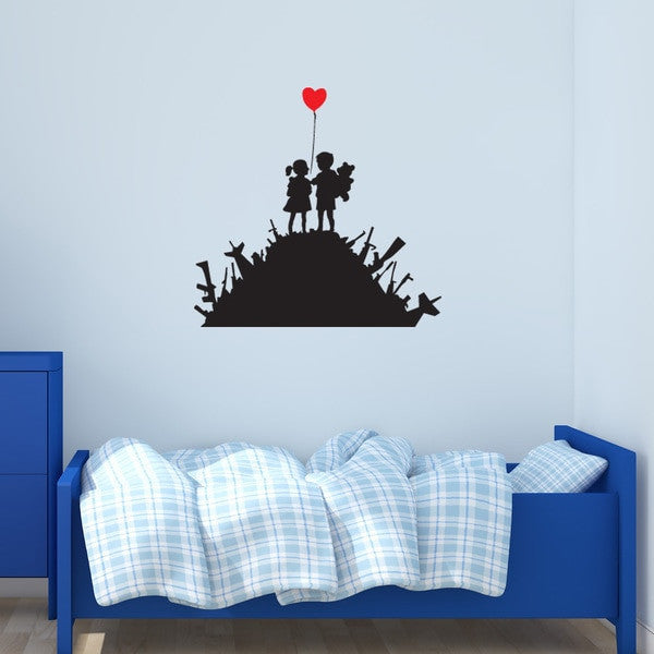 Charmant Kids On Guns Banksy Wall Decal Sticker