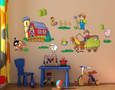 Kids Sticker Farm Set-Wall Decal Stickers-Style and Apply