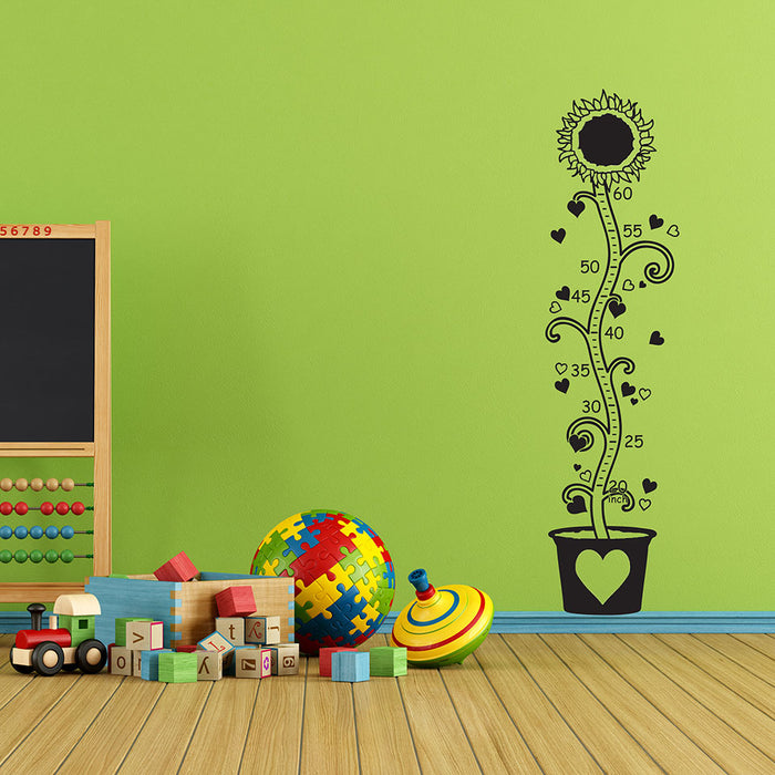 Kids Growth Chart Sunflower Wall Decal