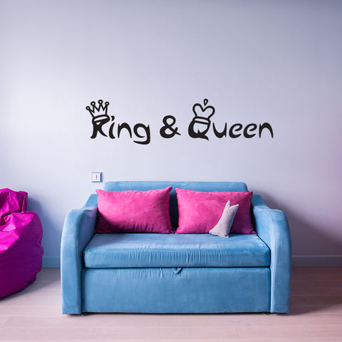 King and Queen Quote with Crowns Wall Decal quote