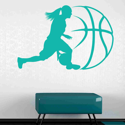 Lady Basketball Wall Decals
