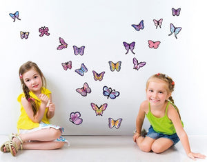Lavender Butterfly Set-Wall Decal Stickers-Style and Apply