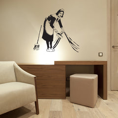 Lazy Maid Banksy Wall Decal-Wall Decals-Style and Apply
