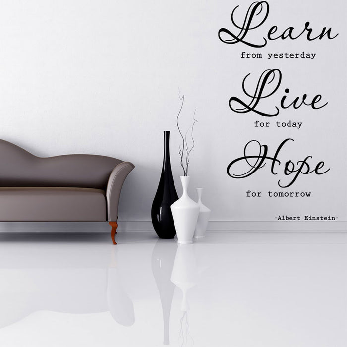 Learn, Live, Hope Wall Decal Quote