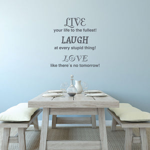 Love Laugh Live Quote-Wall Decal