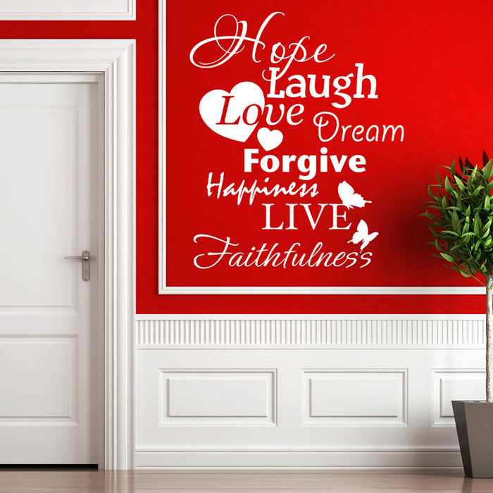 Hope Laugh Live Wall Decal Quote
