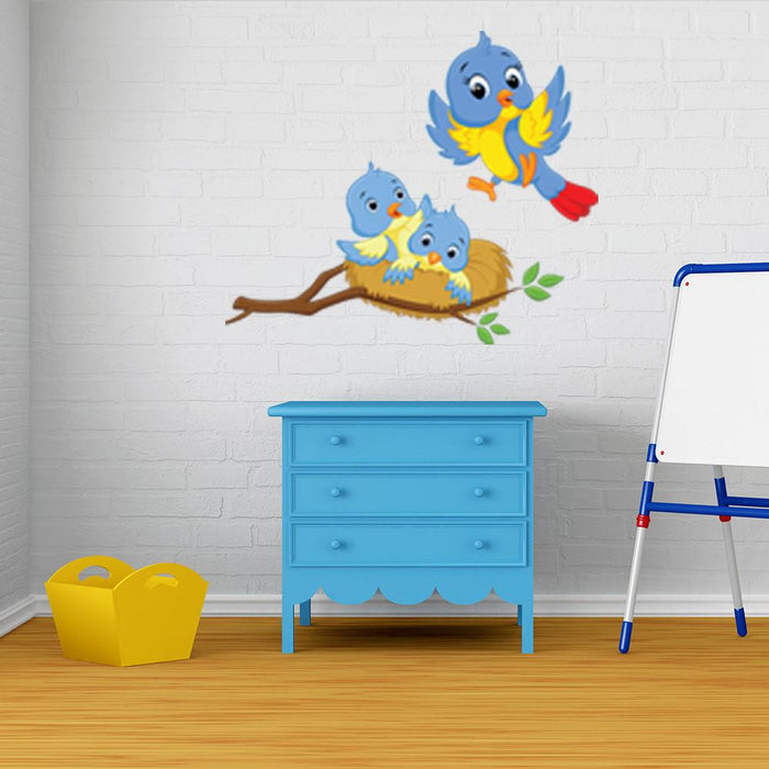 Mama and Baby Birds Wall Decal Sticker