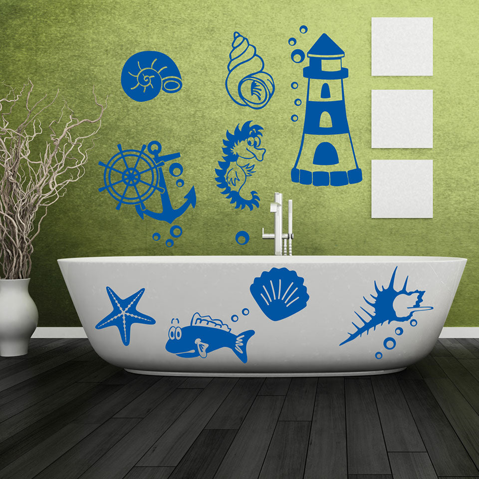 Maritime Set Wall Decal- bathroom Wall Decals