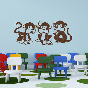 monkey trio wall decal