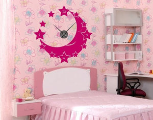 Moon & Stars-Wall Decal Clocks-Style and Apply