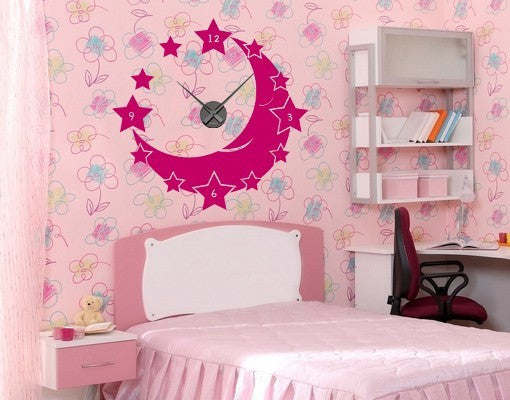 Moon & Stars Wall Decal Clock