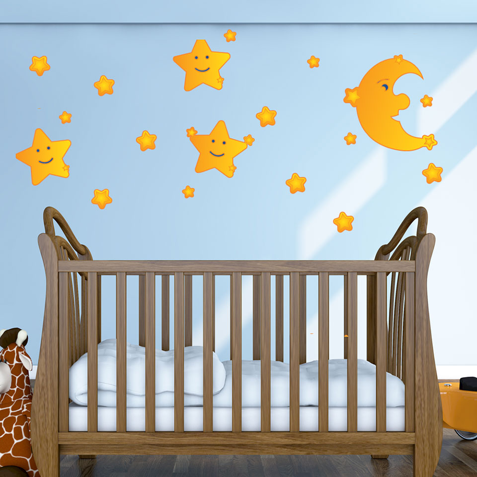 Moon and Stars Wall Decal-Wall Decal Stickers-Style and Apply