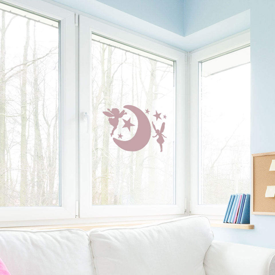 Moon with Elves-Window Decals-Style and Apply