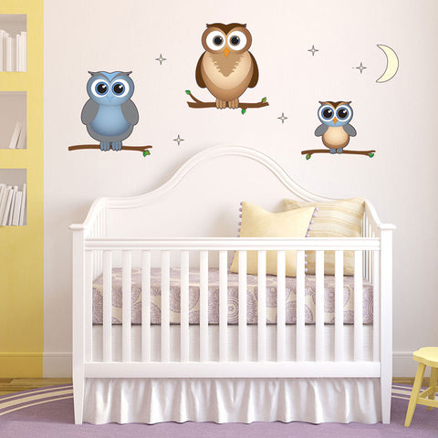 Night Owl Family-Wall Decal Stickers-Style and Apply