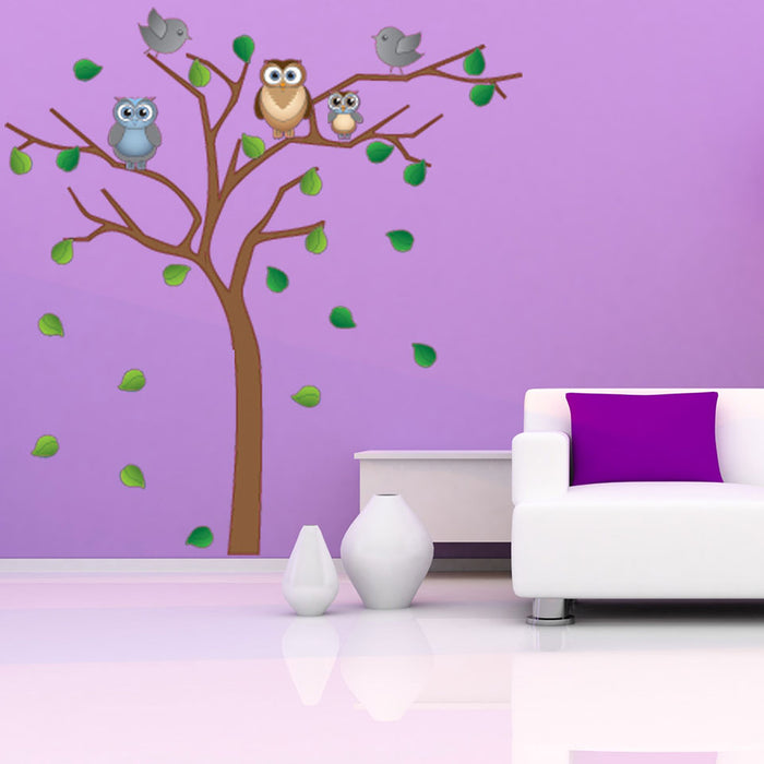 Tree with Owls and Birds Wall Sticker