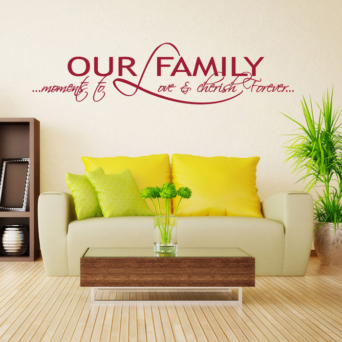 Our Family Wall Decal Quote