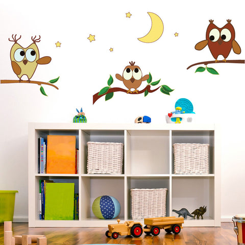 Owl Family III-Wall Decal Stickers-Style and Apply