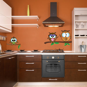 Owl Family II-Wall Decal Stickers-Style and Apply