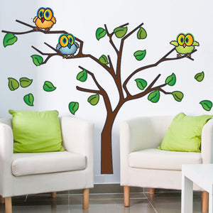 Owls in a Tree-Wall Decal Stickers-Style and Apply