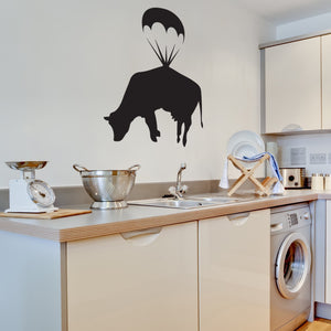 Parachuting Cow Banksy Wall Decal-Wall Decals-Style and Apply