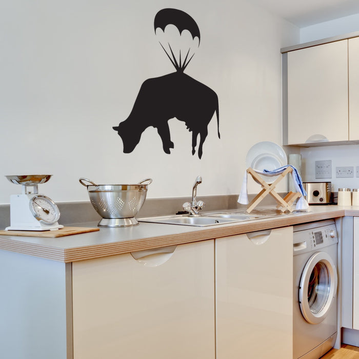 Parachuting Cow Banksy Wall Decal