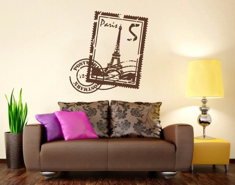 Paris St& Decal-Wall Decals-Style and Apply & Paris Stamp Wall Decal With Eiffel Tower u2013 Style and Apply