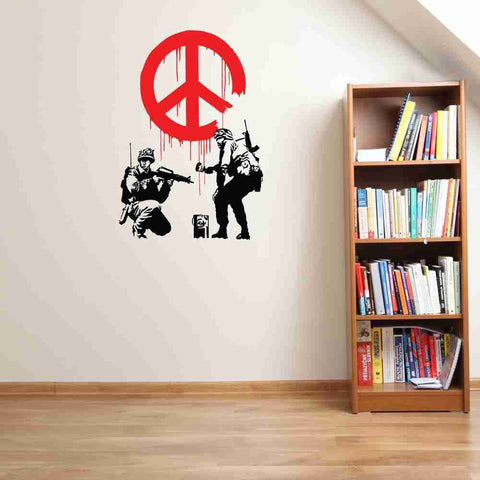 peace propaganda banksy wall decal sticker