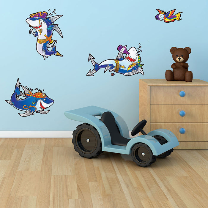 Pirate Sharks Wall Decal Sticker