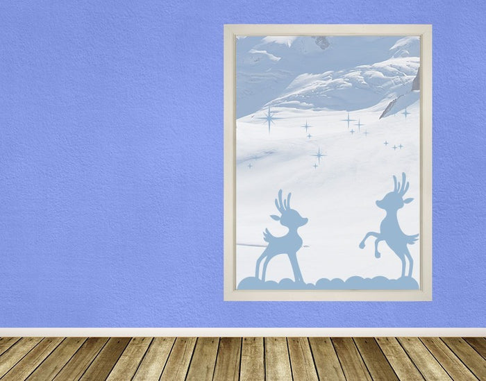 Playing Reindeer Window Decal