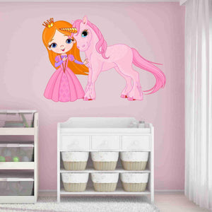 Princess and Unicorn Wall Decal