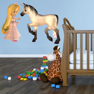 Princess and the Unicorn-Wall Decal Stickers-Style and Apply