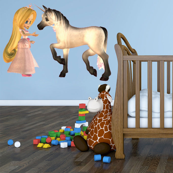 Princess and the Unicorn Wall Decal