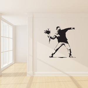 Protest With Flowers Banksy Wall Decal-Wall Decals-Style and Apply