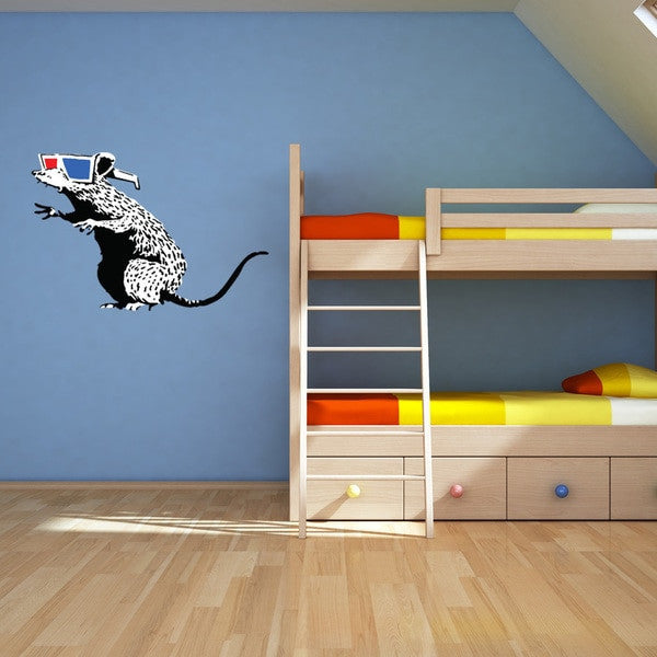 Rat With 3D Glasses Banksy Wall Decal Sticker-Wall Decal Stickers-Style and Apply