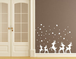 Reindeer in Snow-Wall Decals-Style and Apply