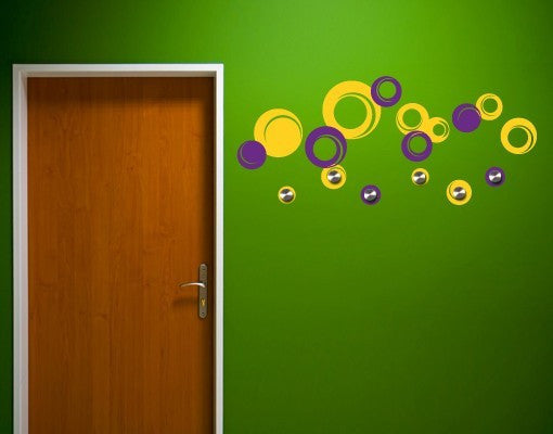 Retro Circles-Wall Decal Hangers-Style and Apply