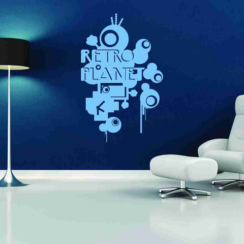 Retro planet wall decal