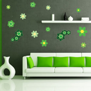 Green Blossom Set Wall Decal Sticker